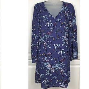 Loft Purple Frosted Branch Bell Sleeve Dress 4P